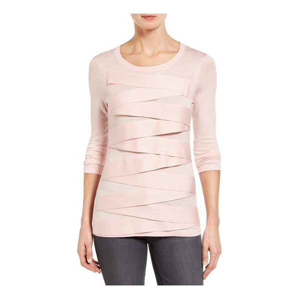 VINCE CAMUTO petite   zigzag sweater - Banded trim zigzags down the front of a fine-gauge sweater...