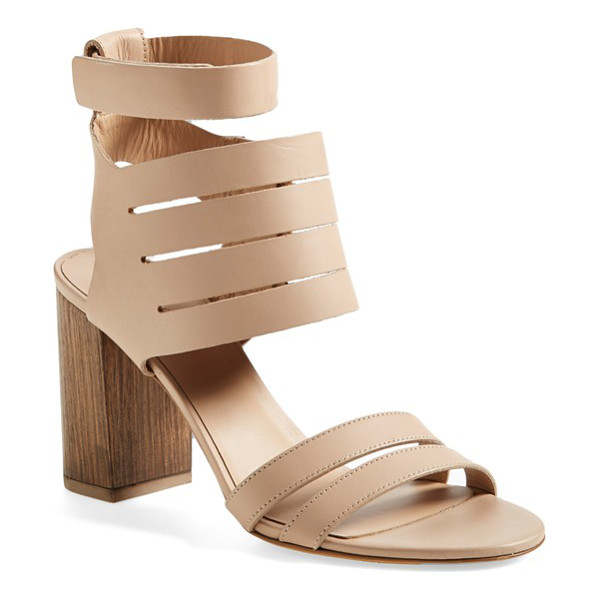 VINCE freida ankle strap sandal - A woodgrain heel adds earthy sophistication to a poised...