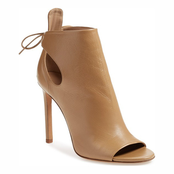 VINCE 'gabbrielle' open toe bootie - Curvaceous cutouts at the counter secured by a delicate tie...