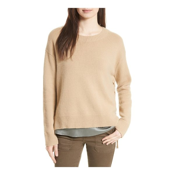 VINCE lace up cashmere pullover - Laced with ties at the split sides, a classic crewneck...