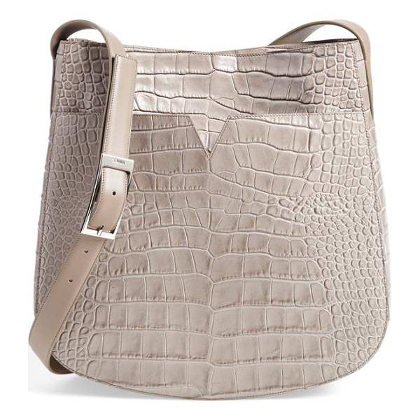 VINCE Medium croc embossed leather crossbody bag - Dramatic croc embossing amplifies the uptown elegance of a...