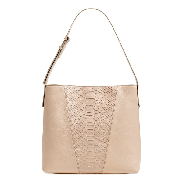 VINCE Modern v python embossed leather hobo bag - A python-embossed front panel provides a stunning, textural...