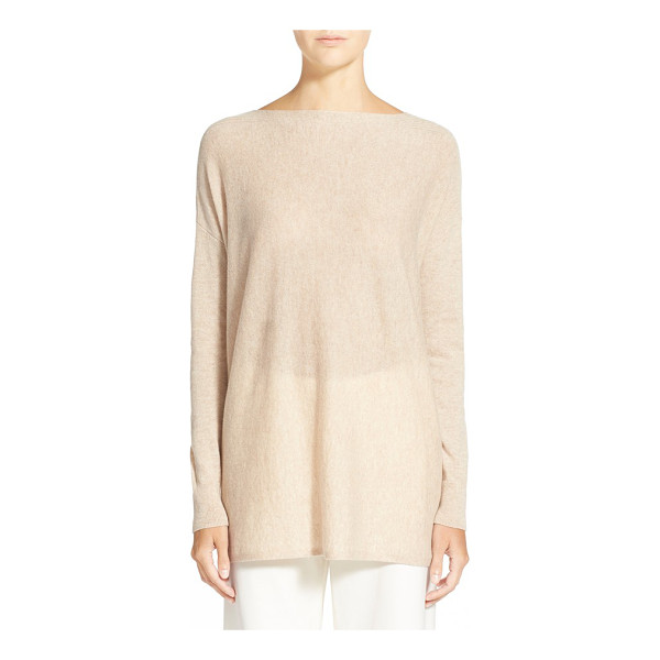 VINCE ribbed trim boatneck sweater - Rib-knit accents texture the shoulders of a relaxed-fitting...