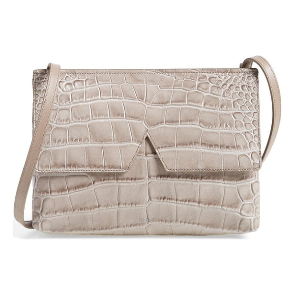 VINCE Small croc embossed leather crossbody bag - Dramatic croc embossing amplifies the uptown elegance of a...