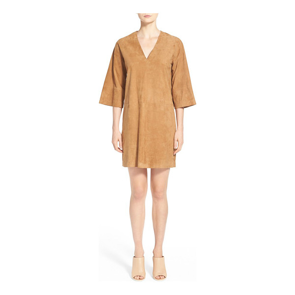VINCE v-neck suede shift dress - Velvety goat suede is fashioned into a boxy silhouette on...