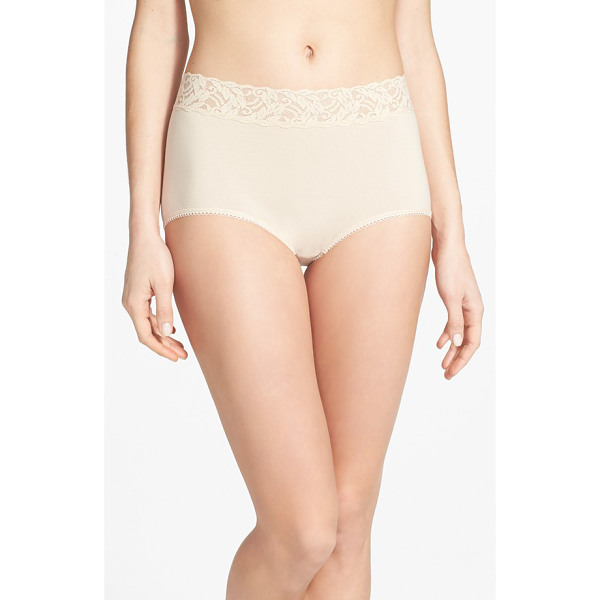 WACOAL 'cotton suede' lace trim briefs - Sheer stretch lace forms the wide, nonbinding waistband of...
