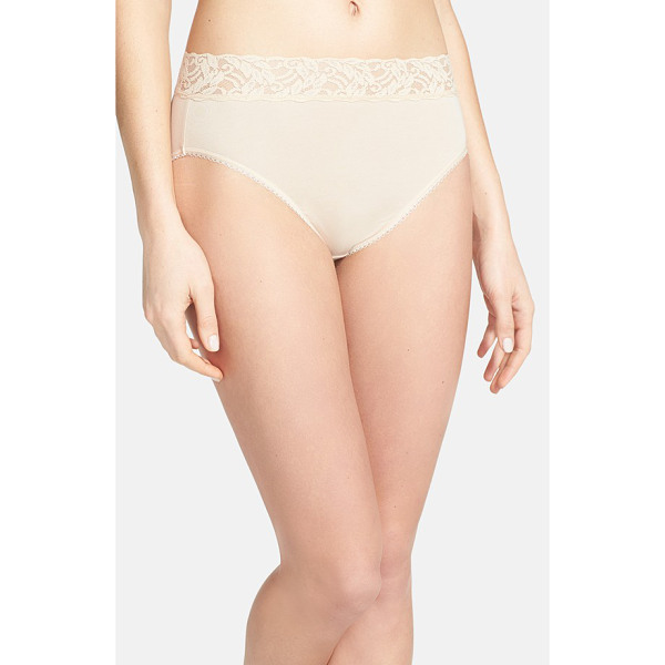 WACOAL 'cotton suede' lace trim high cut briefs - Sheer stretch lace forms the wide, nonbinding waistband of...