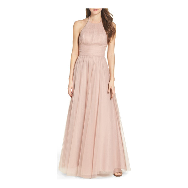 WATTERS abigale tulle halter gown - Romantic and ethereal in floor-sweeping tulle, this...