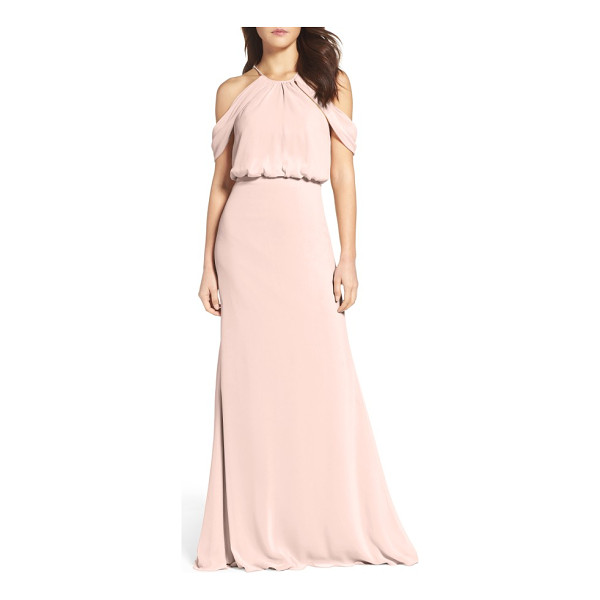 WATTERS deni a-line chiffon gown - This elegantly draped chiffon gown with a truly ethereal...