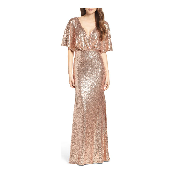 WATTERS elson sequin blouson gown - Go all-out glam in this beautifully draped blouson gown...