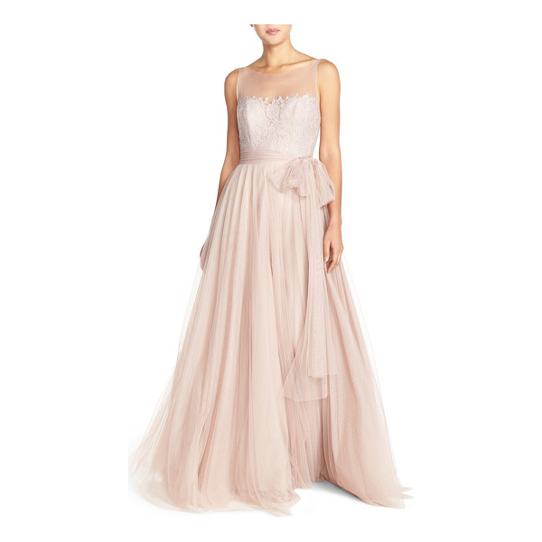 WATTERS lisa illusion yoke lace & bobbinet a-line gown - Write your own fairytale in this entrancing gown that...