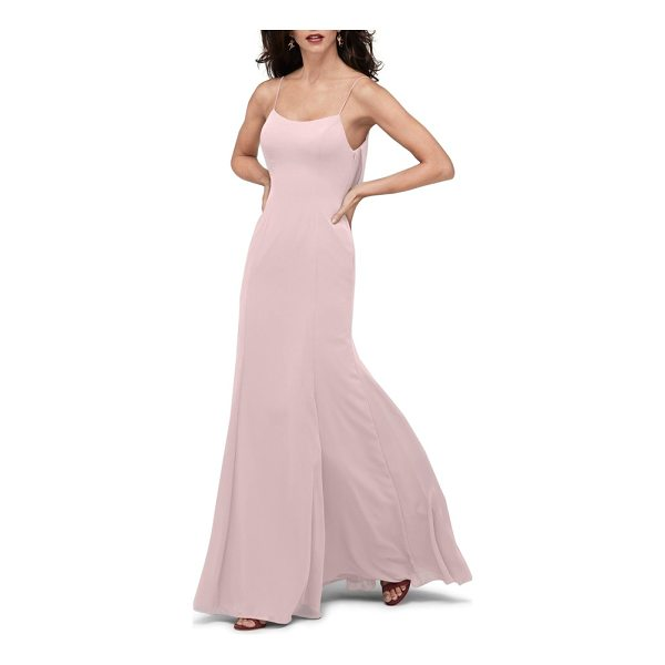 WATTERS melanie cowl back chiffon gown - Elegant ripples captivate below the open back of a textured...