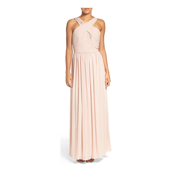 WATTERS 'micah' crisscross neck a-line chiffon gown - Exuding Grecian-goddess elegance, a pleated chiffon gown...