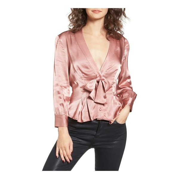 WAYF errol bow blouse - Cut from lustrous satin in a flattering tied silhouette,...