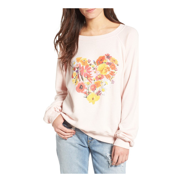 WILDFOX blooming heart pullover - A blooming heart graphic makes this slouchy, ultra-comfy...