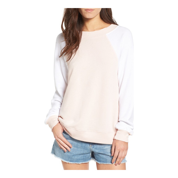 WILDFOX destroyed sommers sweatshirt - Distressed edges age the look of a comfy-cozy color-blocked...