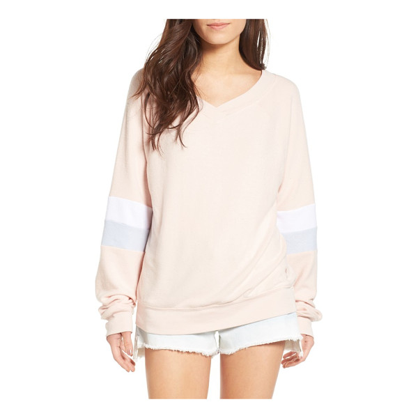 WILDFOX gidget beach jumper pullover - Keep this slouchy, ultra-comfy pullover with sporty stripes...