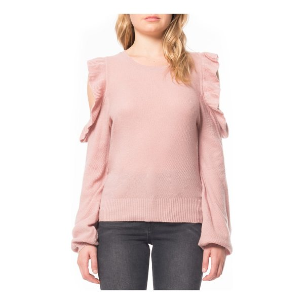 WILLOW & CLAY cold shoulder ruffle sweater - This comfortable sweater with shoulder cutouts and fluttery...