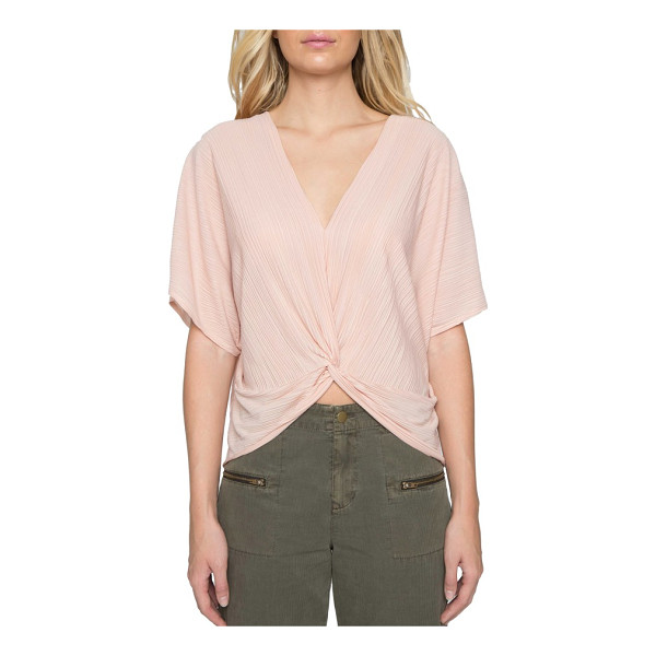 WILLOW & CLAY twist front plisse top - Delicate plisse pleats cascade over your shoulders in...