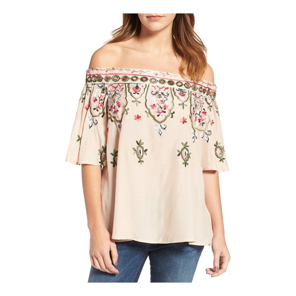 WIT & WISDOM embroidered off the shoulder top - A breezy woven top bewitches with off-the-shoulder styling...