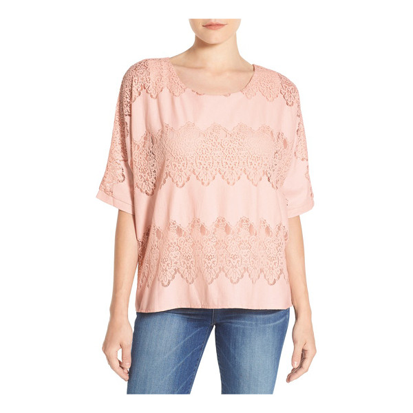 WIT & WISDOM lace trim boxy top - Wide bands of lace wrap romantic charm around a slouchy...