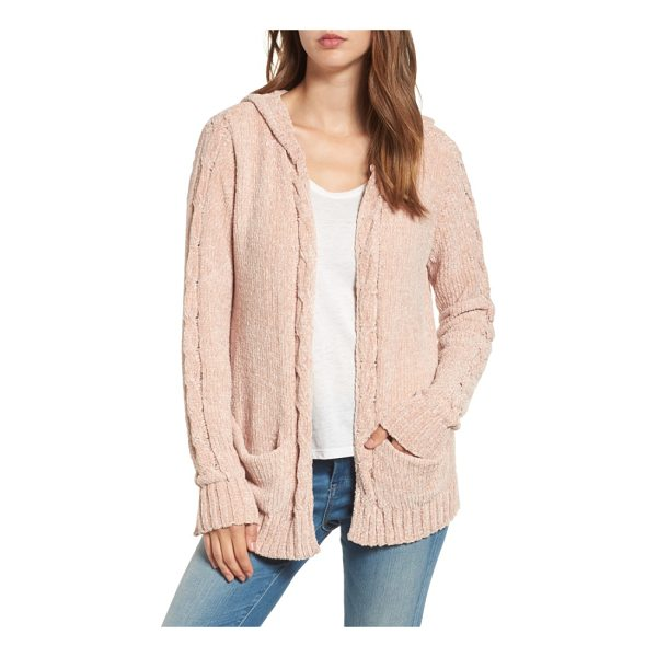 WOVEN HEART chenille hooded cardigan - Knit from pale pink chenille, this sweet little hoodie is...