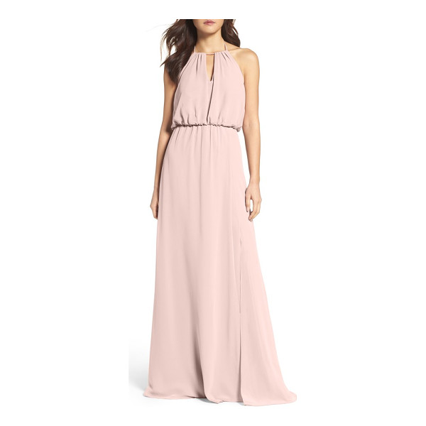 WTOO keyhole halter chiffon gown - This pretty chiffon gown flatters most every figure with...