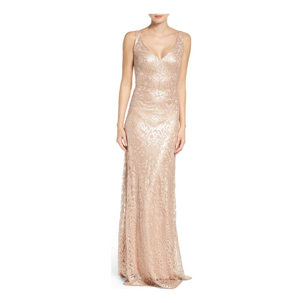 WTOO sequin embroidered a-line gown - Scintillating sequins trace elegant glamour down the fluid...