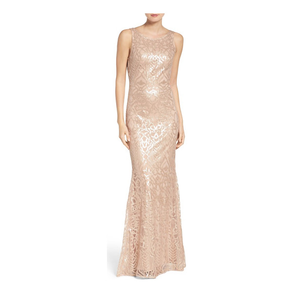 WTOO sequin embroidered cowl back a-line gown - Whether coming or going, this gown presents an elegant and...