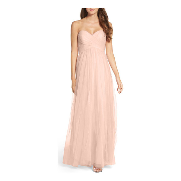WTOO convertible strap tulle gown - Ethereal, tissue-weight tulle is shirred and wrapped around...