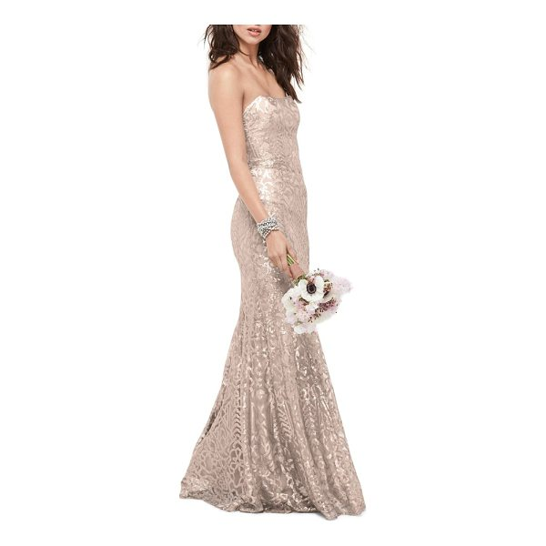 WTOO talisa sequin mesh strapless gown - An elegant sequin motif illuminates the glam silhouette of...