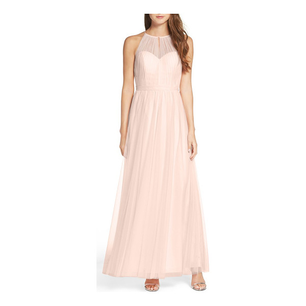 WTOO tulle halter neck gown - A softly gathered sheer overlay draws the attention to your...