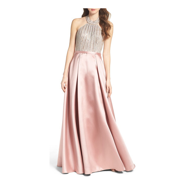 XSCAPE beaded halter ballgown - Light up the night in a scene-stealing ballgown that pairs...