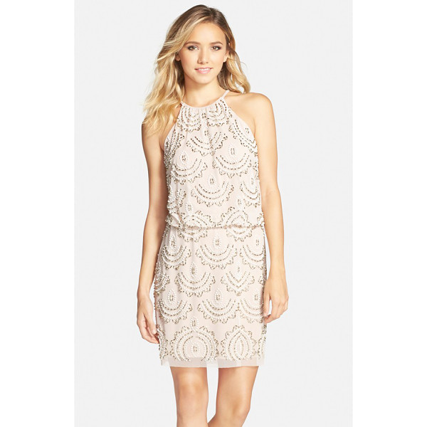 XSCAPE beaded halter blouson dress - Twinkling, scalloped beads embellish the blouson bodice and...