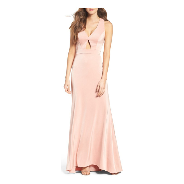 XSCAPE cross back gown - Crisscrossing straps and a keyhole cutout add showstopping...