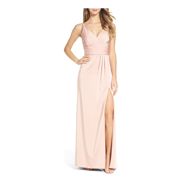 XSCAPE cross back side pleat satin gown - Lustrous satin is carefully pleated and wrapped to one side...