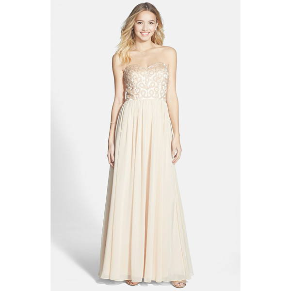 XSCAPE embellished chiffon fit & flare gown - Satiny faux pearls and matching beading front the...