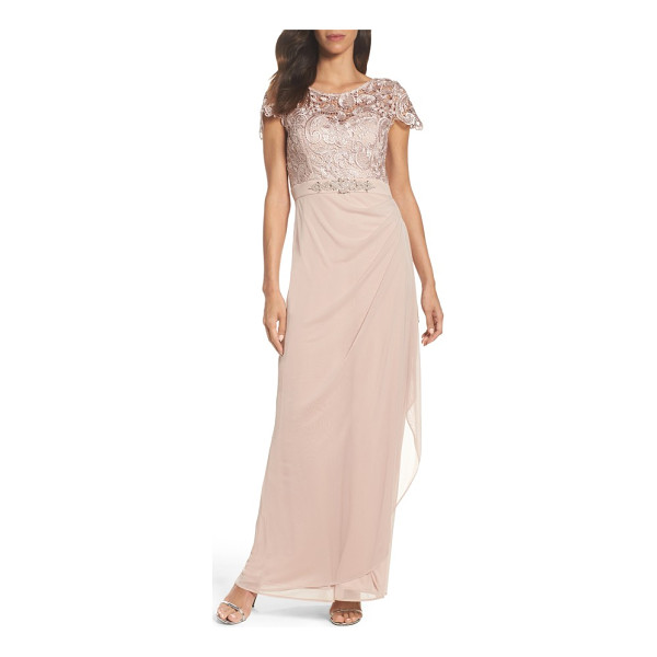 XSCAPE lace column gown - Metallic floral lace illuminates this polished evening gown...