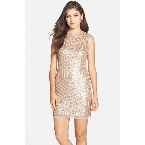 XSCAPE sequin sleeveless sheath dress - Breathtaking golden sequins form a stunning chevron pattern...