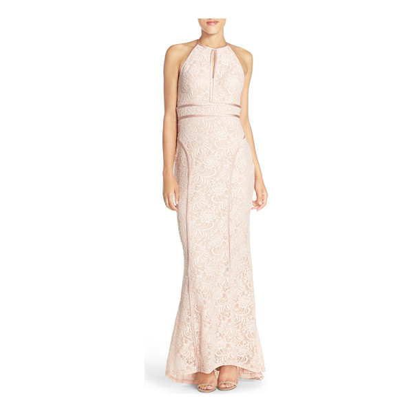XSCAPE strappy back lace gown - Lustrous satin trim traces the edges, contoured seams and...