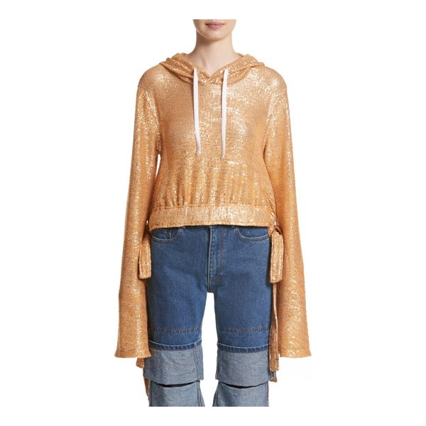Y/PROJECT sequin drawstring hoodie - Casualwear goes glam in this slouchy, cinchable hoodie...