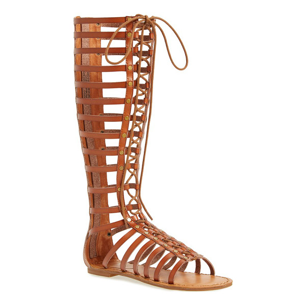 ZIGI GIRL jacee tall gladiator sandal - Crisscrossed laces bridge the open front of a caged-strap...