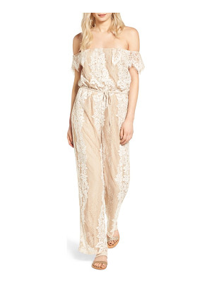 4SI3NNA lace off the shoulder jumpsuit