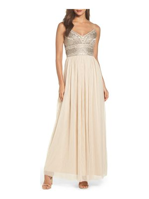 Adrianna Papell beaded bodice mesh gown