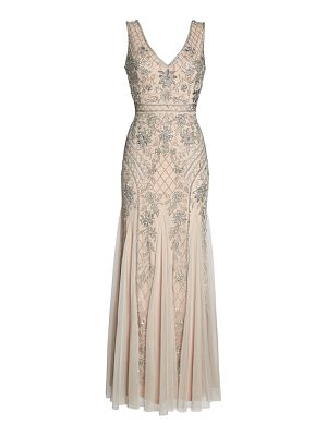 ADRIANNA PAPELL Beaded Double V-Neck Gown