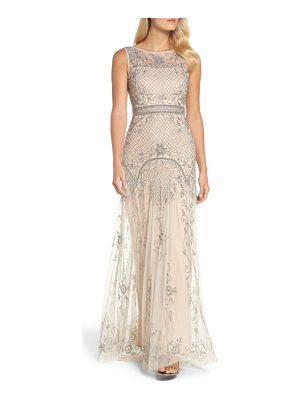 Adrianna Papell beaded illusion column gown