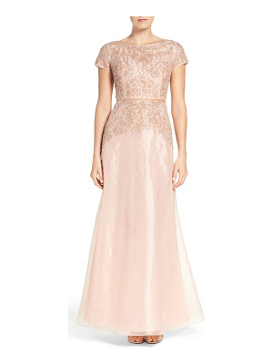 Adrianna Papell beaded organza gown