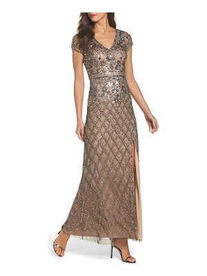 Adrianna Papell beaded v-neck mesh gown