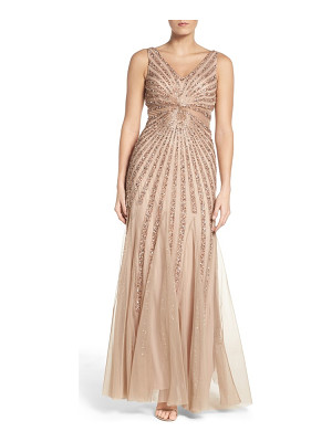 Adrianna Papell embellished mesh fit & flare gown