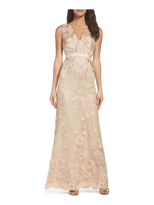 Adrianna Papell embroidered tulle gown